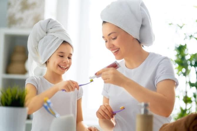 brushing teeth before sleeping